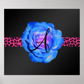 Blue rose monogram posters