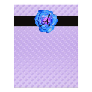 Blue rose monogram purple polka dots 21.5 cm x 28 cm flyer