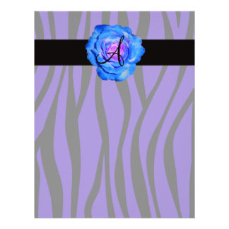 Blue rose monogram purple zebra stripes pattern personalized flyer