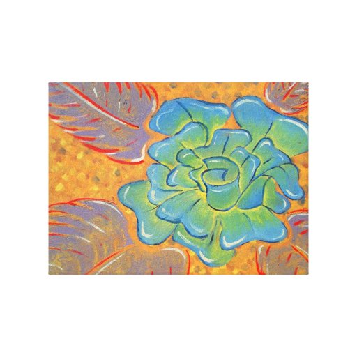 Blue Rose Oil Painting Gallery Wrapped Canvas