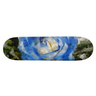 Blue rose painting custom skate board
