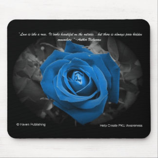 Blue Rose Quote Mousepad