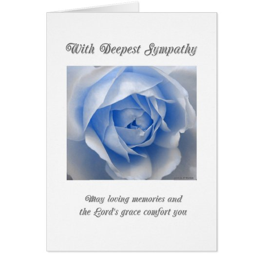 Blue Rose Religious Sympathy Card