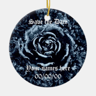 Blue rose Save the Date ornament