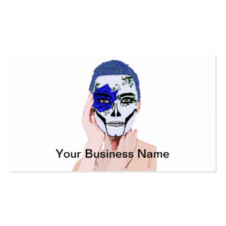 Blue Rose Skull Painted Woman Dia De Los Muertos Double-Sided Standard Business Cards (Pack Of 100)