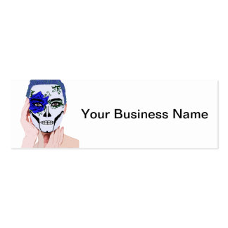 Blue Rose Skull Painted Woman Dia De Los Muertos Double-Sided Mini Business Cards (Pack Of 20)