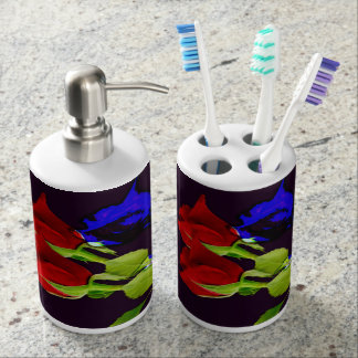 Blue Rose Soap Dispenser And Toothbrush Holder