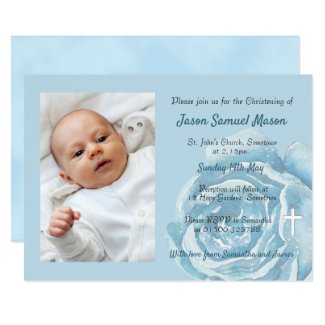 Blue rose sparkle Christening Invitation