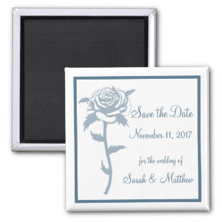 Blue Rose Wedding Save the Date Magnet