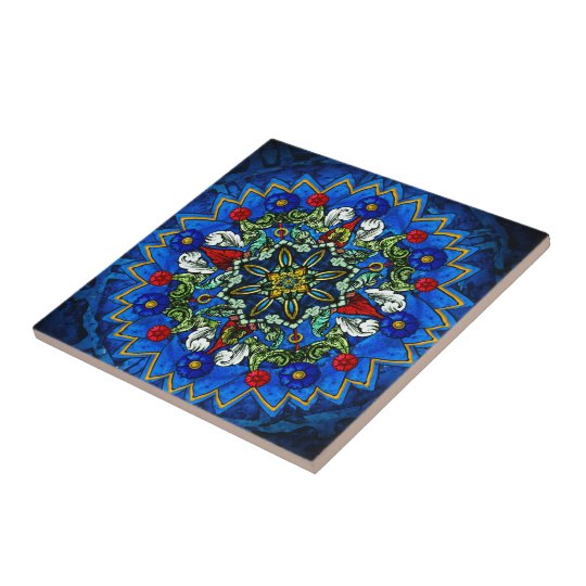Blue Rose Window Mandala Ceramic Tile