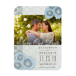 Blue Roses Damask Lace Photo Save The Date Magnet