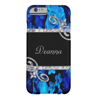 Blue Roses & Diamond Swirls Monogram Barely There iPhone 6 Case