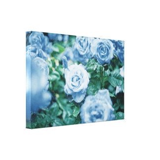 Blue Roses Flowers Romantic Chic Wall Art