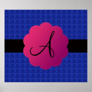 Blue roses monogram poster