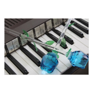 Blue Roses On Organ Photograph