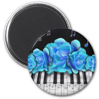 Blue Roses Piano Keyboard and Music Notes 6 Cm Round Magnet