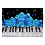 Blue Roses Piano Keyboard and Music Notes Greeting Card