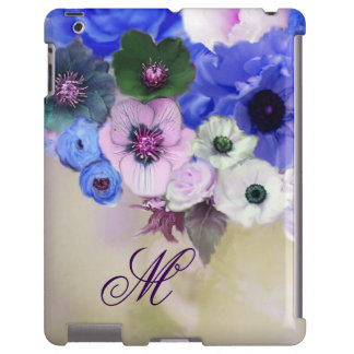 BLUE ROSES, PINK WHITE ANEMONE FLOWERS MONOGRAM iPad CASE