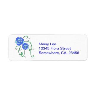 Blue Roses Return Address Label