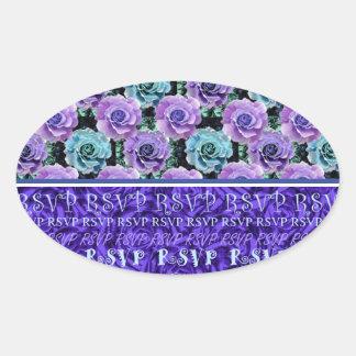 Blue Roses RSVP Sticker Oval Sticker