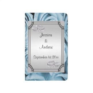Blue Roses, Silver Frame & Diamond Wedding Rings Journals