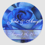 Blue Roses Sticker-save the date-customise Round Sticker