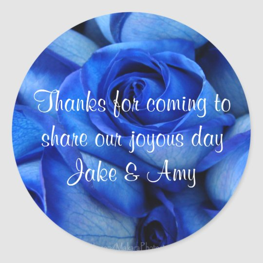 Blue Roses TY Sticker-customise Round Sticker