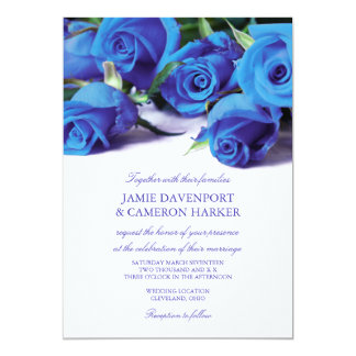 Blue Roses Wedding Invite