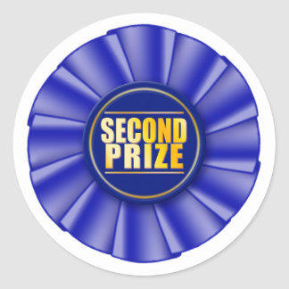 blue rosette second prize sticker