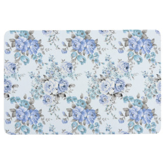 Blue Rosy Flower Pattern Floor Mat