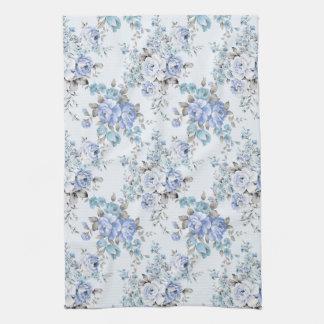 Blue Rosy Flower Pattern Kitchen Towel
