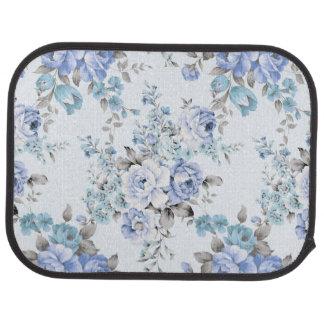 Blue Rosy Flower Pattern Rear Car Mats