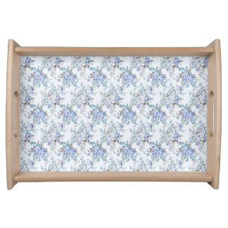 Blue Rosy Flower Pattern Serving Tray