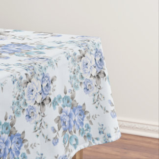 Blue Rosy Flower Pattern Tablecloth