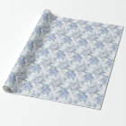 Blue Rosy Flower Pattern Wrapping Paper