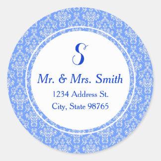 Blue Round Damask Address Label Sticker