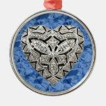 Blue Round Elegant Designer Heart Ornament