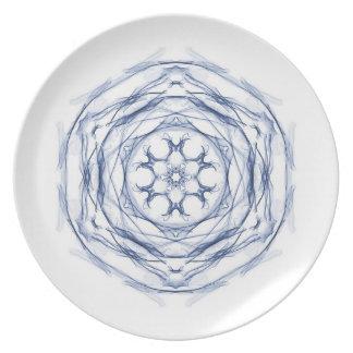 Blue Round Fractal Design Plate