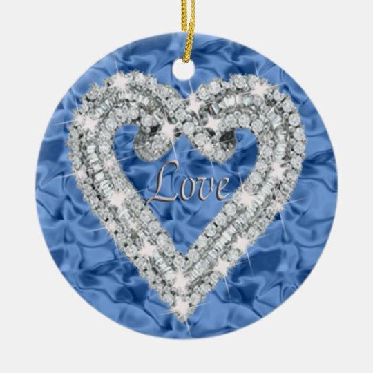 Blue Round Love Diamond Heart Ornament