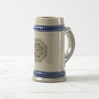 Blue Round mandala | Indian motif Beer Stein