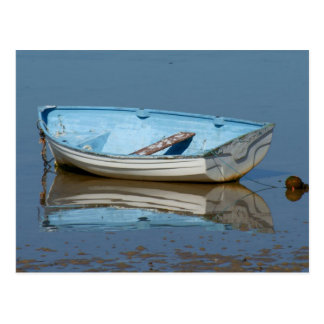 Blue rowing boat postcard