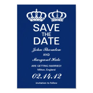 Blue Royal Couple Save the Date Card