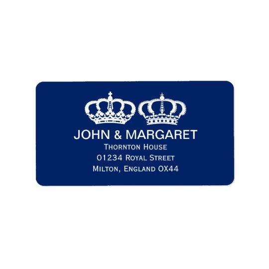 Blue Royal Couple Wedding Address Label