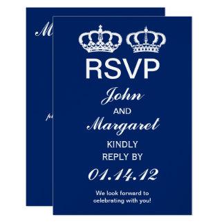 Blue Royal Couple Wedding RSVP 9 Cm X 13 Cm Invitation Card
