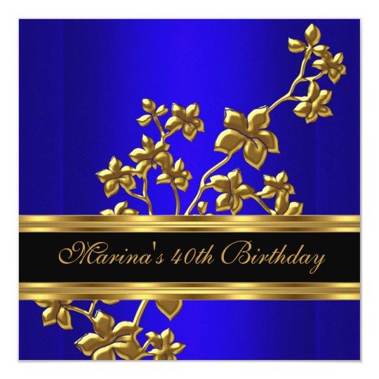 Blue Royal Elegant 40th Birthday Party Black Gold
