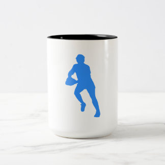 Blue Rugby Player Silhouette Mug