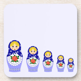 Blue russian matryoshka nesting dolls coaster