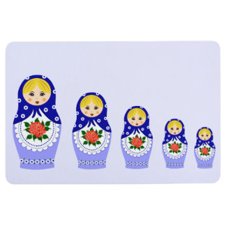 Blue russian matryoshka nesting dolls floor mat