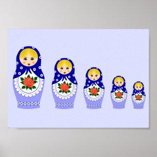 Blue russian matryoshka nesting dolls poster