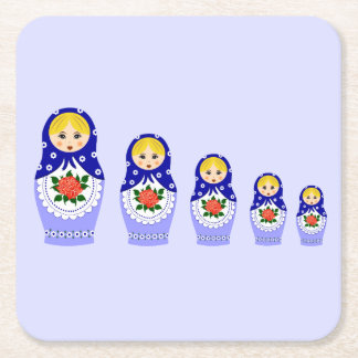 Blue russian matryoshka nesting dolls square paper coaster